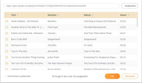 Anzeige der Lieder, welche von Spotify welche MP3 gespeichert werden sollen