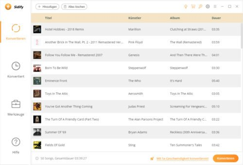 Liste der Lieder von Spotfiy als mp3