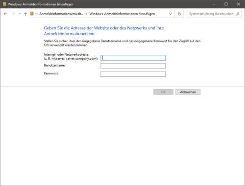 Die Anmeldeinformationen speichern Benutzername und Passwort der NAS-Freigabe.