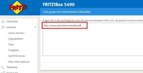 Internetseite auf der Fritzbox sperren