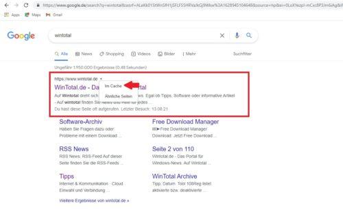 Google als Wayback-Machine-Alternative