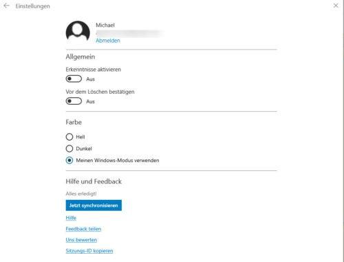 Die Kurznotizen in Windows 10 bieten auch Backup und Synchronisation.