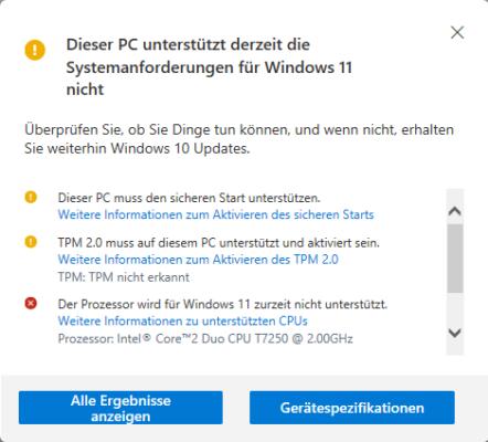 Das Ergebnis der Prüfung zeigt, ob Sie Windows 11 installieren können.