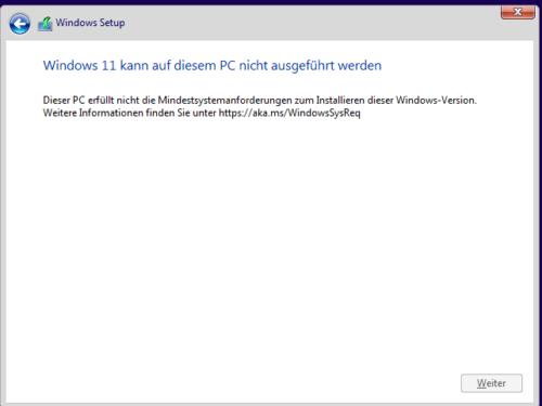 Windows 11 erfüllt nicht die Mindestvoraussetzungen