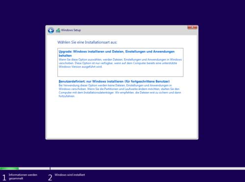 Windows 11 installieren Art der Installation
