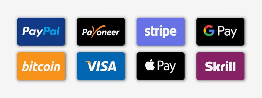 Paypal, payoneer, visa, discover, mastercard, skrill, apple pay, google pay, american express - most popular realistic payment logotype. Payment icon set