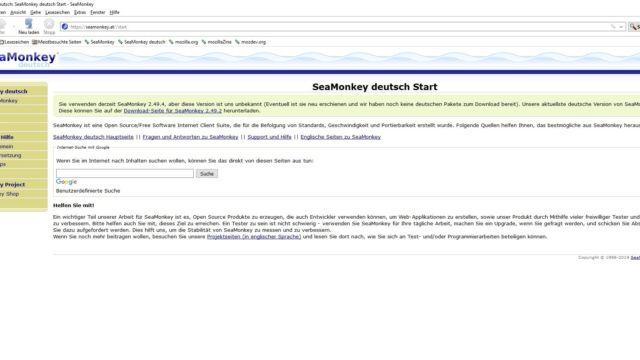SeaMonkey Startseite